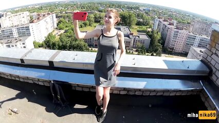 Секс Русской молодой пары на крыше многоэтажки.